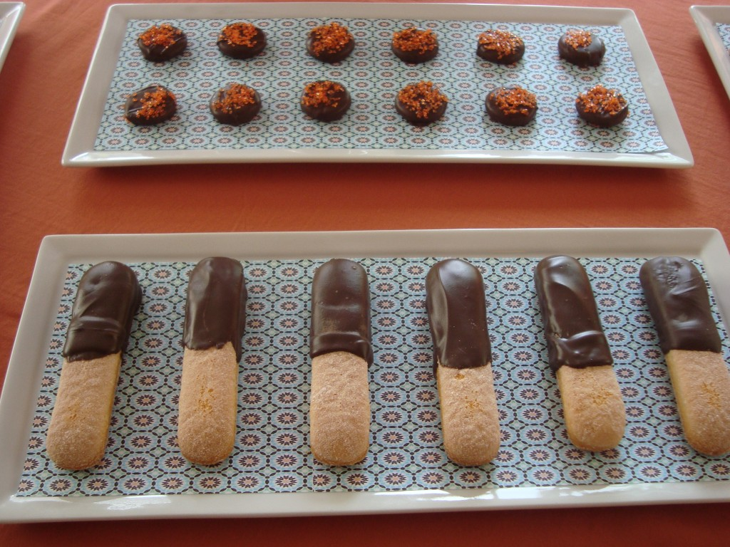 Dark chocolate truffles with orange sugar  and chocolate dipped lady fingers.