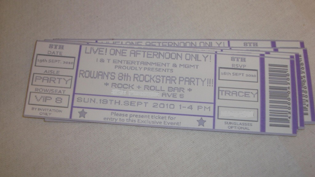 concert ticket invites
