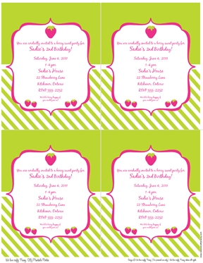 Strawberry Shortcake Invites Free Printable as good invitation template