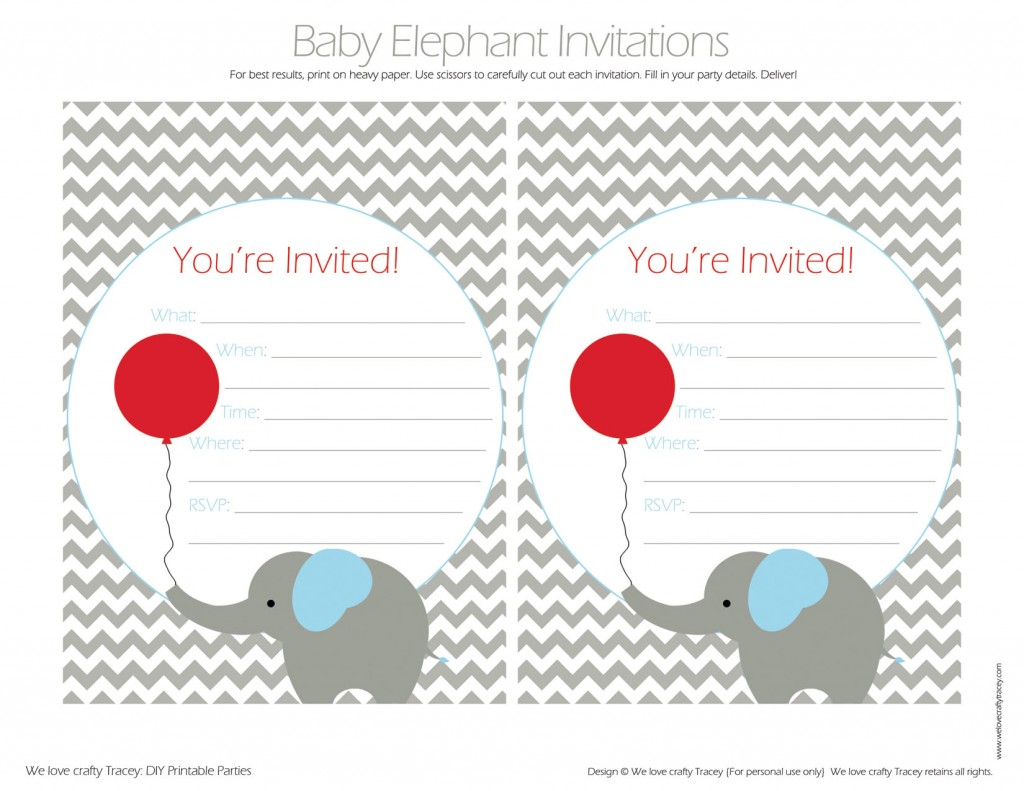 Red Balloon - Baby Elephant Invites FIB