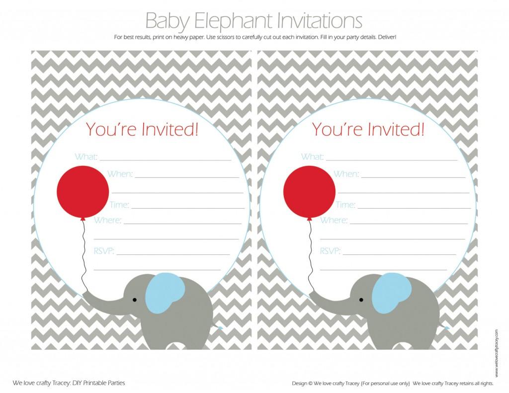 Red Balloon - Baby Elephant Invites FIB